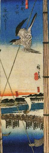 A Cuckoo flying past masts by Hiroshige