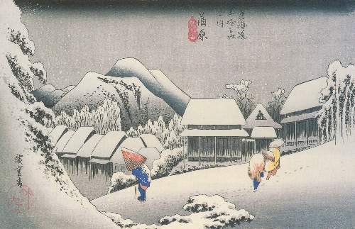 A Village in the snow by Hiroshige