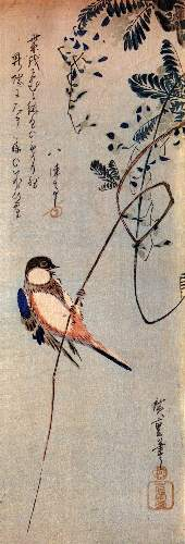 A bird on a Wisteria by Hiroshige