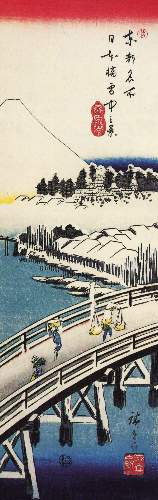 A bridge in the snow by Hiroshige