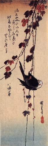 A small black bird hanging on ivy by Hiroshige