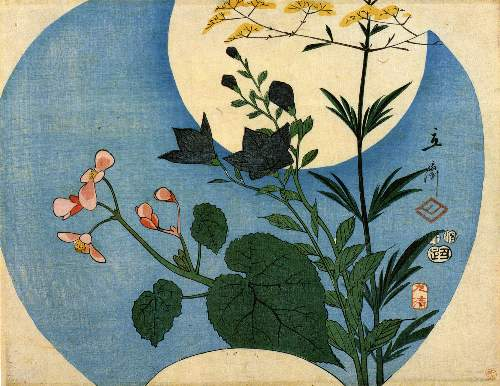 Autumn flowers with full moon by Hiroshige