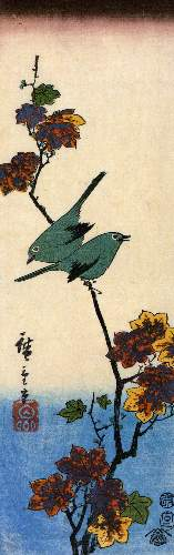Birds on a maple branch by Hiroshige