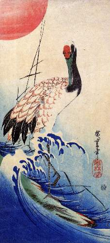 Crane and rising sun by Hiroshige
