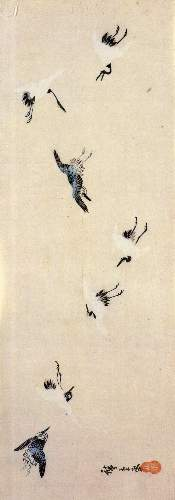 Cranes flying by Hiroshige