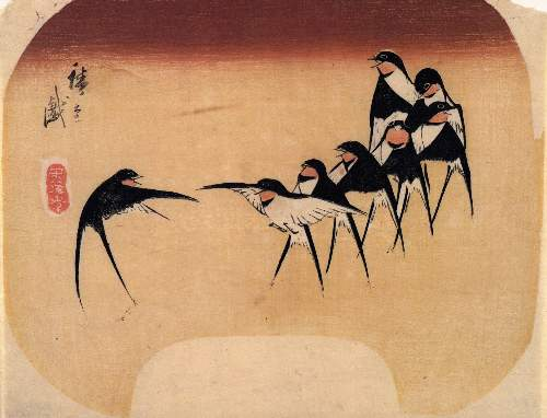 Dancing Swallows by Hiroshige