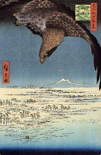 Eagle over the lowlands near Susaki by Hiroshige