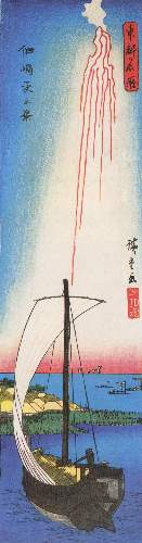 Fireworks over a bay by Hiroshige