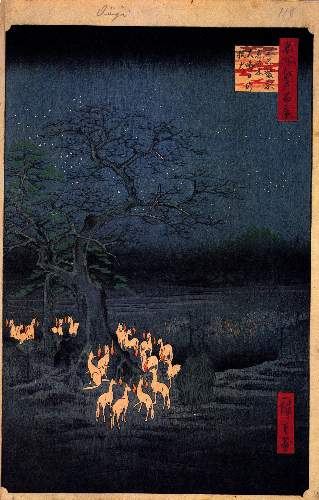 Foxfires at the Changing Tree by Hiroshige