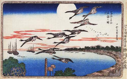 Geese descending over a bay by Hiroshige
