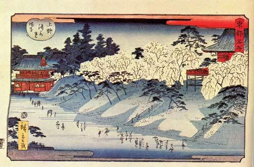 Going to temple by Hiroshige