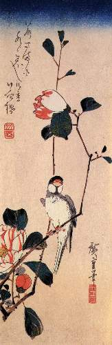 Java sparrow on a magnolia branch by Hiroshige