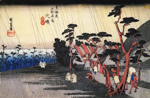 Rain on a town by the coast by Hiroshige