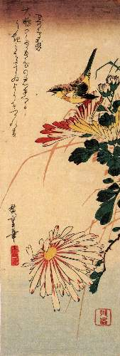 Small bird with chrysanthemum by Hiroshige