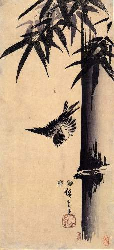 Sparrow and bamboo 2 by Hiroshige