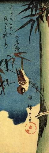 Sparrow and bamboo 3 by Hiroshige