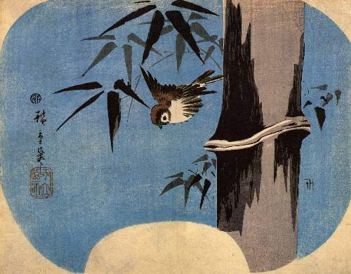 Sparrow and bamboo 4 by Hiroshige
