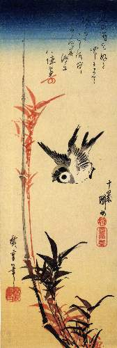 Sparrow and bamboo by Hiroshige