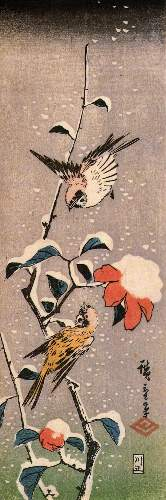Sparrows and camelias with snow by Hiroshige