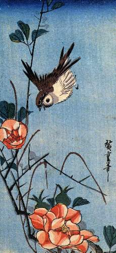Sparrows and wild rose by Hiroshige