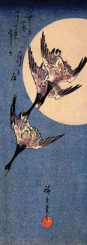 Three geese flying by Hiroshige
