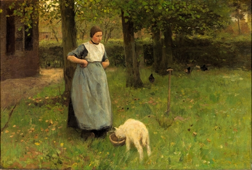 Anton Mauve - Woman from Laren with lamb