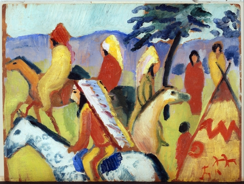 August Macke - Riding around the Indian tent