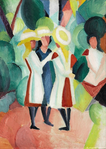 August Macke - Three girls in yellow straw hats I