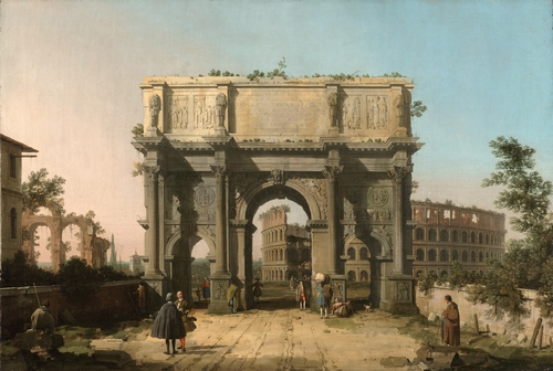 Canaletto - The Arch of Constantine and Colosseum