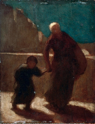 Daumier - On a Bridge at Night