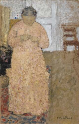 Edouard Vuillard - Woman knitting in Pink Dress
