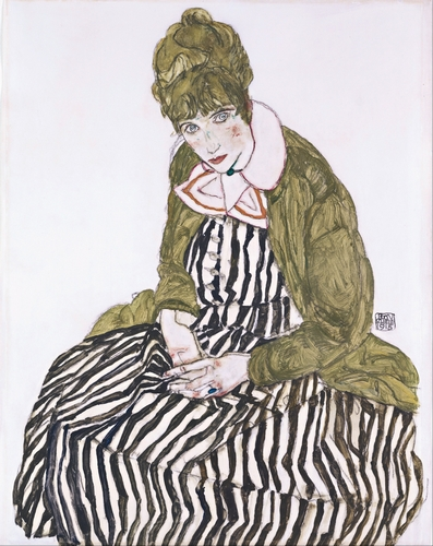 Egon Schiele - Edith with Striped Dress, Sitting