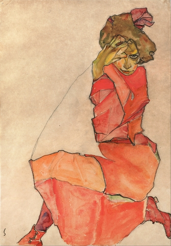 Egon Schiele - Kneeling Woman in Orange-Red Dress