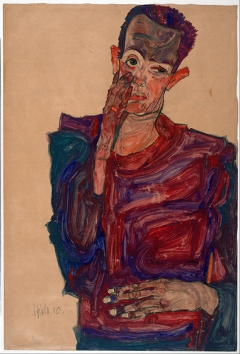 Egon Schiele - Self portrait with eyelid pulled down