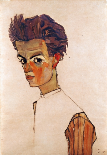 Egon Schiele - Self portrait with striped shirt