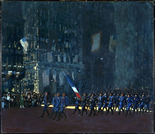 George Luks - Blue Devils on Fifth Avenue
