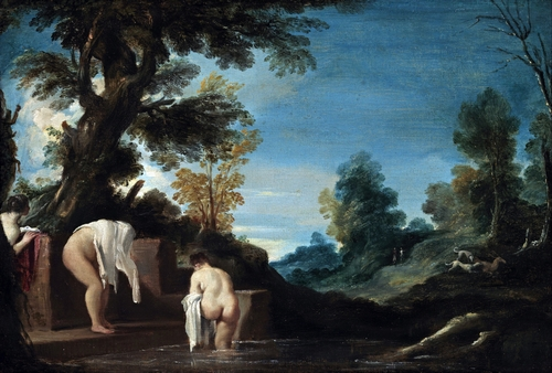 Guercino - Landscape with women bathing