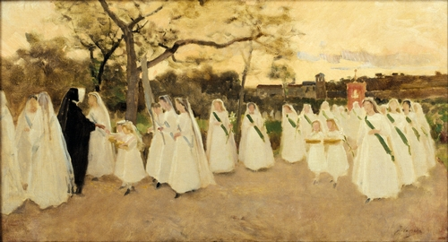 Joaquim Vayreda - Procession of Schoolgirls