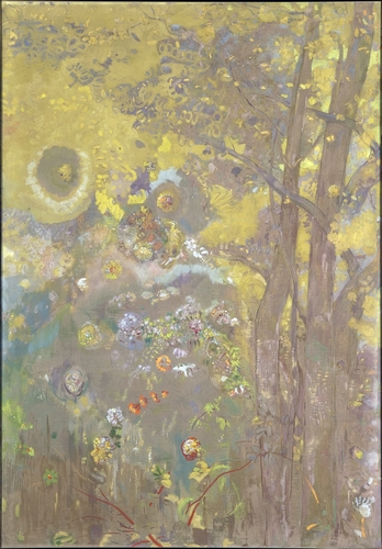 Odilon Redon - Trees on a yellow Background