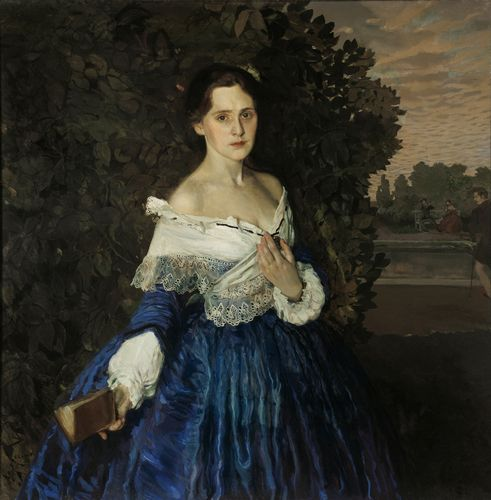 Konstantin Somov - Lady in blue. Portrait of Martynova