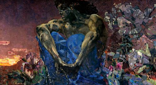 Mikhail Vrubel - A sitting demon