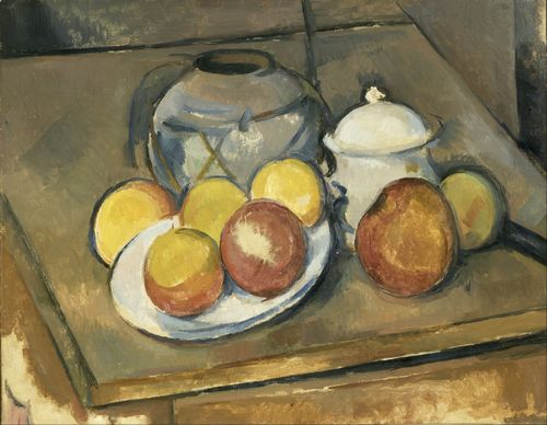 Cezanne - Straw-Trimmed Vase, Sugar Bowl and Apples