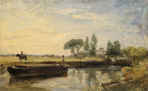Constable - Barge below Flatford Lock