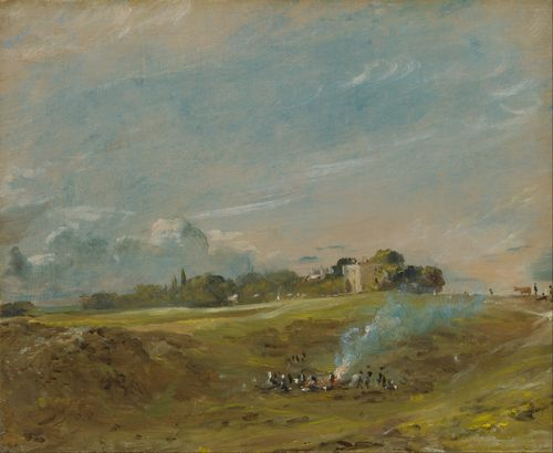 Constable - Hampstead Heath with a bonfire