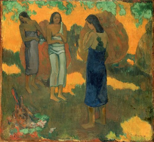 Gauguin - Three Tahitain women against a yellow background