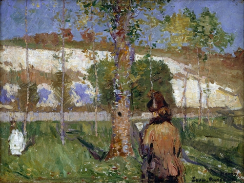 John Peter Russell - Madame Sisley on the banks of the Loing at Moret