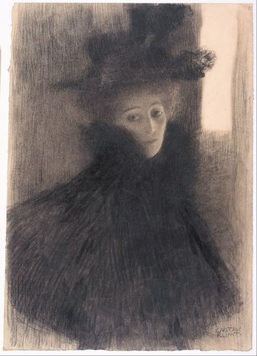 Klimt - Portrait of a Lady with Cape and Hat