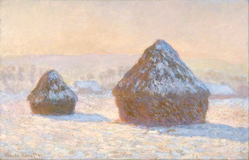 Monet - Wheatstacks, Snow Effect in Morning