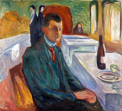 Munch - Self-Portrait with bottle of wine