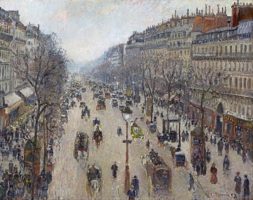 Pissarro - Boulevard Montmartre, morning, cloudy weather
